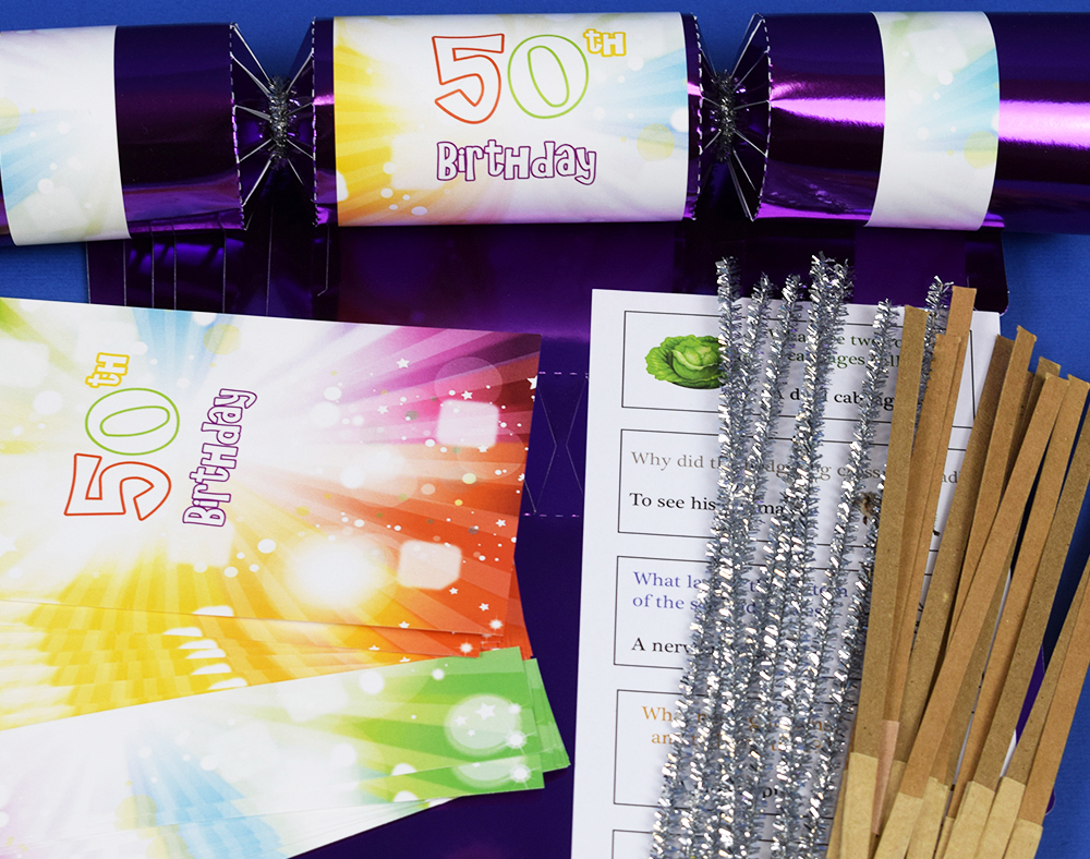 8 purple foil 50th birthday make fill your own cracker craft kit image is loading 8 purple foil 50th birthday make amp fill solutioingenieria Gallery